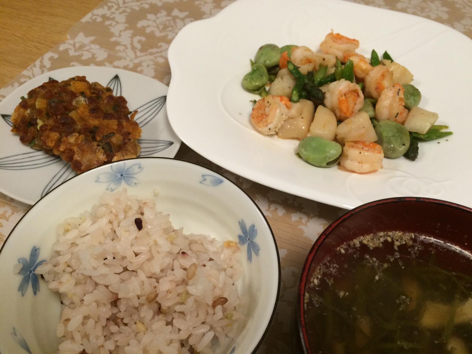 ホタテと春野菜のうま塩炒め